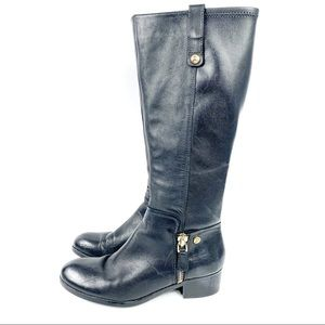 Guess Black Leather Knee High Boots Size 7.5